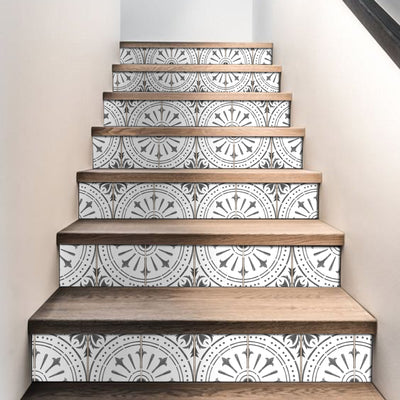 "Stair Riser Stickers - Stair Riser Tile Decals - Chiave Grey 6 units 48"" long"