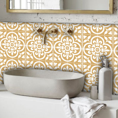 Tile Sticker Splash back - Removable Vinyl Wall Decal Corona Golden