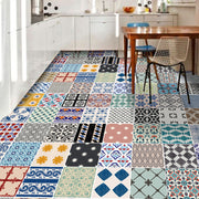 Custom Vinyl Floor Tile Sticker Foglio Mint & Eclectic Patchwork Mix - for Patricia Lafferty