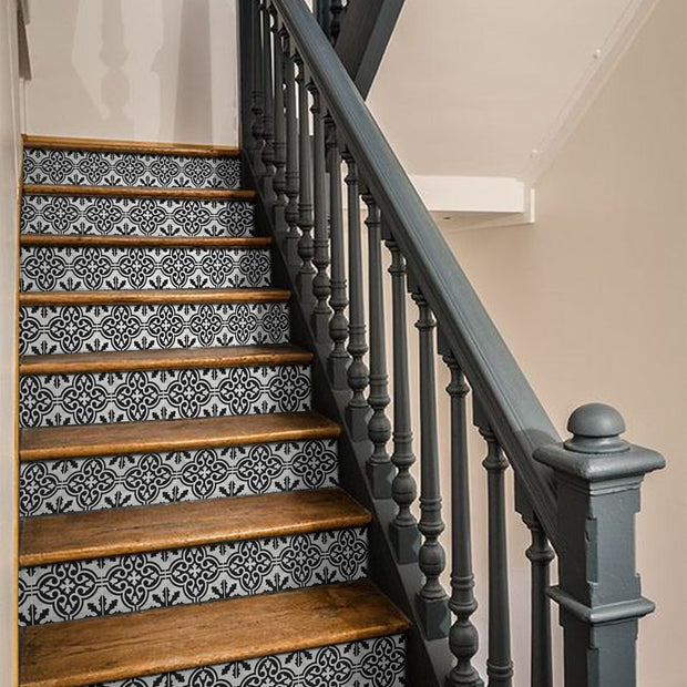 Floc in Black Stair Riser Stickers
