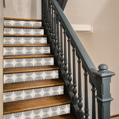 Stair Riser Stickers - Stair Riser Tile Decals -Hamra in Beige