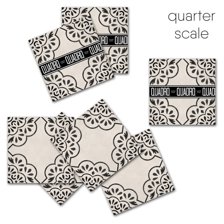 Vinyl Tile Sticker for Kitchen, Bathroom & Floors in Hamra  Beige & Black