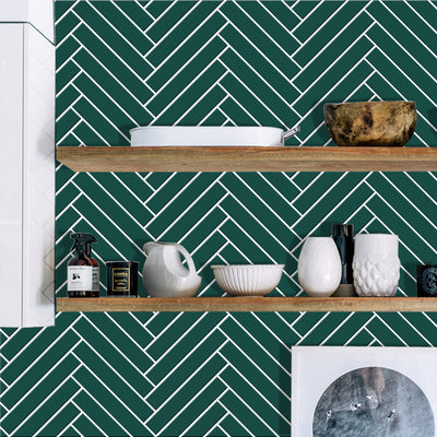 Herringbone in Peacock Green Wallpaper