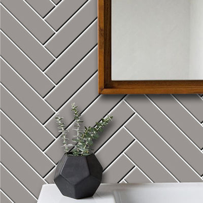 Removable Vinyl Wall Decal Herringbone in Taupe Grey