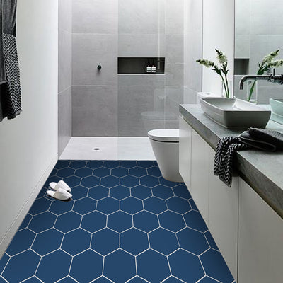 Hexa in Admiral Blue Floor Sticker