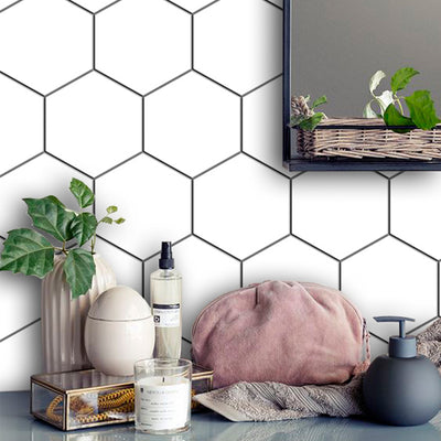 Removable Vinyl Wall Decal Hexa in Pure White