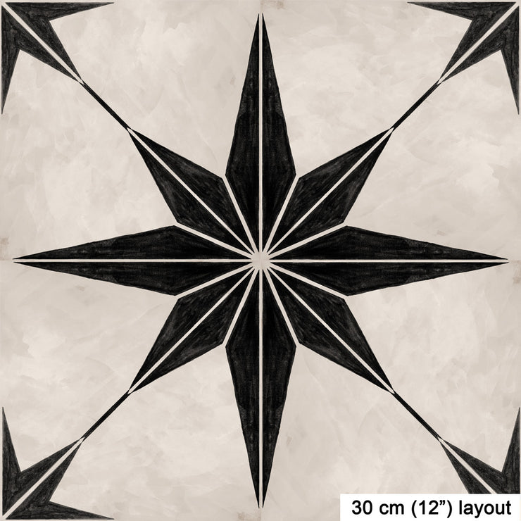 Vinyl Floor Tile Sticker - Astra in Black