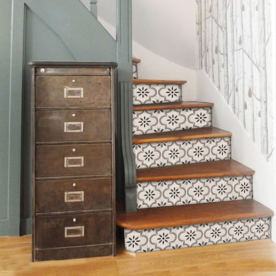 Stair Riser Stickers - Stair Riser Tile Decals -Marta in Taupe