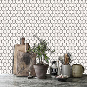 Mini Hexa in Off White Wallpaper