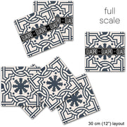 Vinyl Tile Stickers Pack for Kitchen, Bathroom & Floors in Agrigento Ink Blue