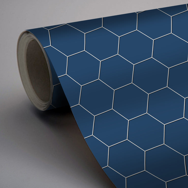 Removable Vinyl Wall Decal Hexa in Admiral Blue