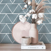 Triangles Wallpaper in Slate Blue