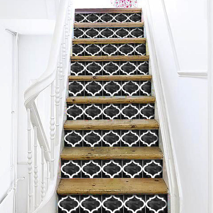 Stair Riser Stickers - Stair Riser Tile Decals - Zahara in Black