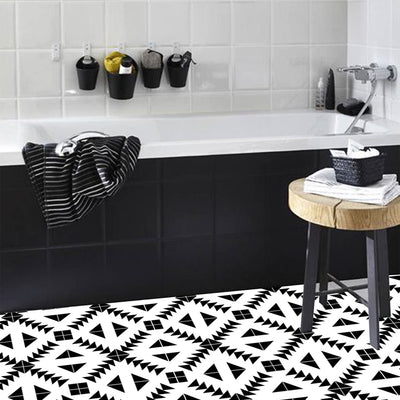 SALE! Vinyl Floor Tile Sticker - Zig Zag in Black