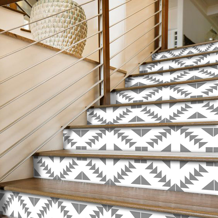 "Stair Riser Stickers - Stair Riser Tile Decals - Zig Zag Grey  6 units 48"" long"
