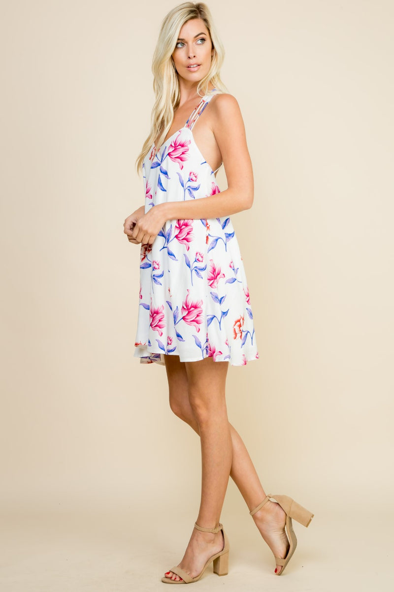 White Strappy Floral Dress