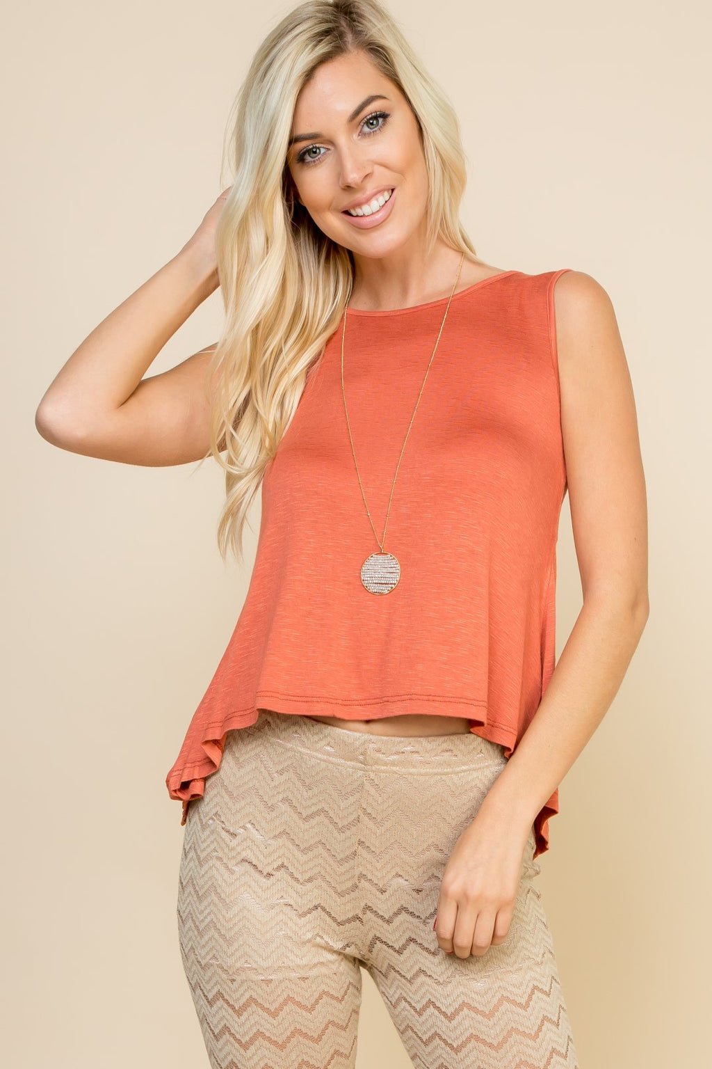 Rust Tank With Lace Detail