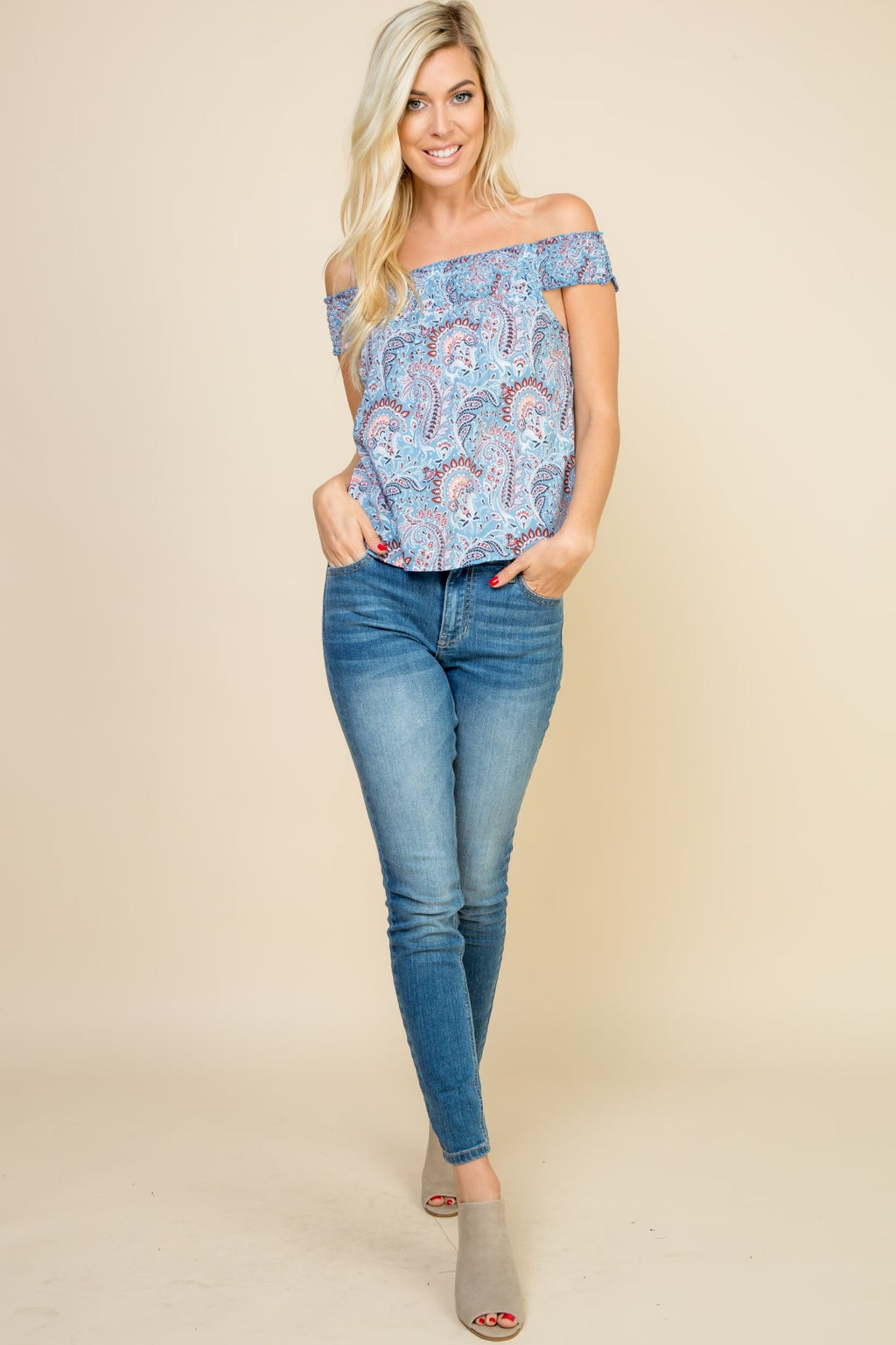 Blue Paisley Off The Shoulder Top