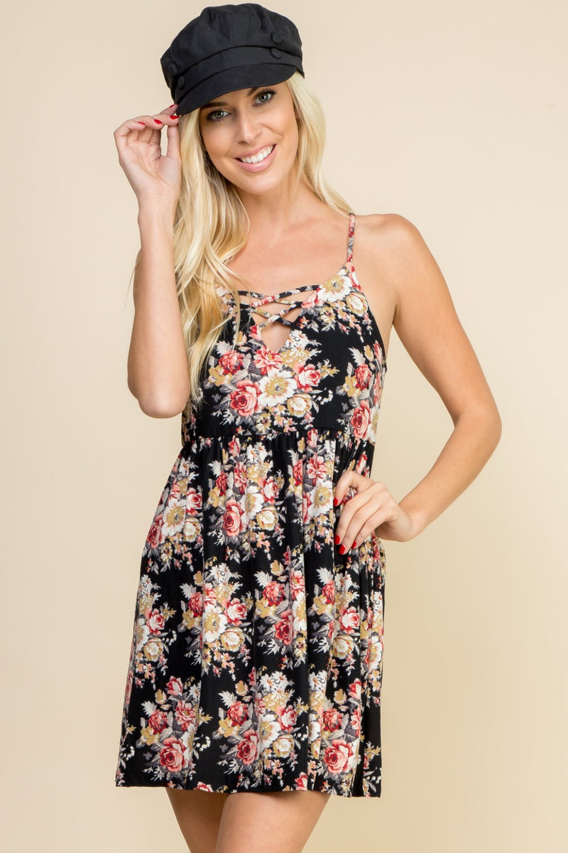 Black Floral Strappy Dress - 19 Dollars Or Less
