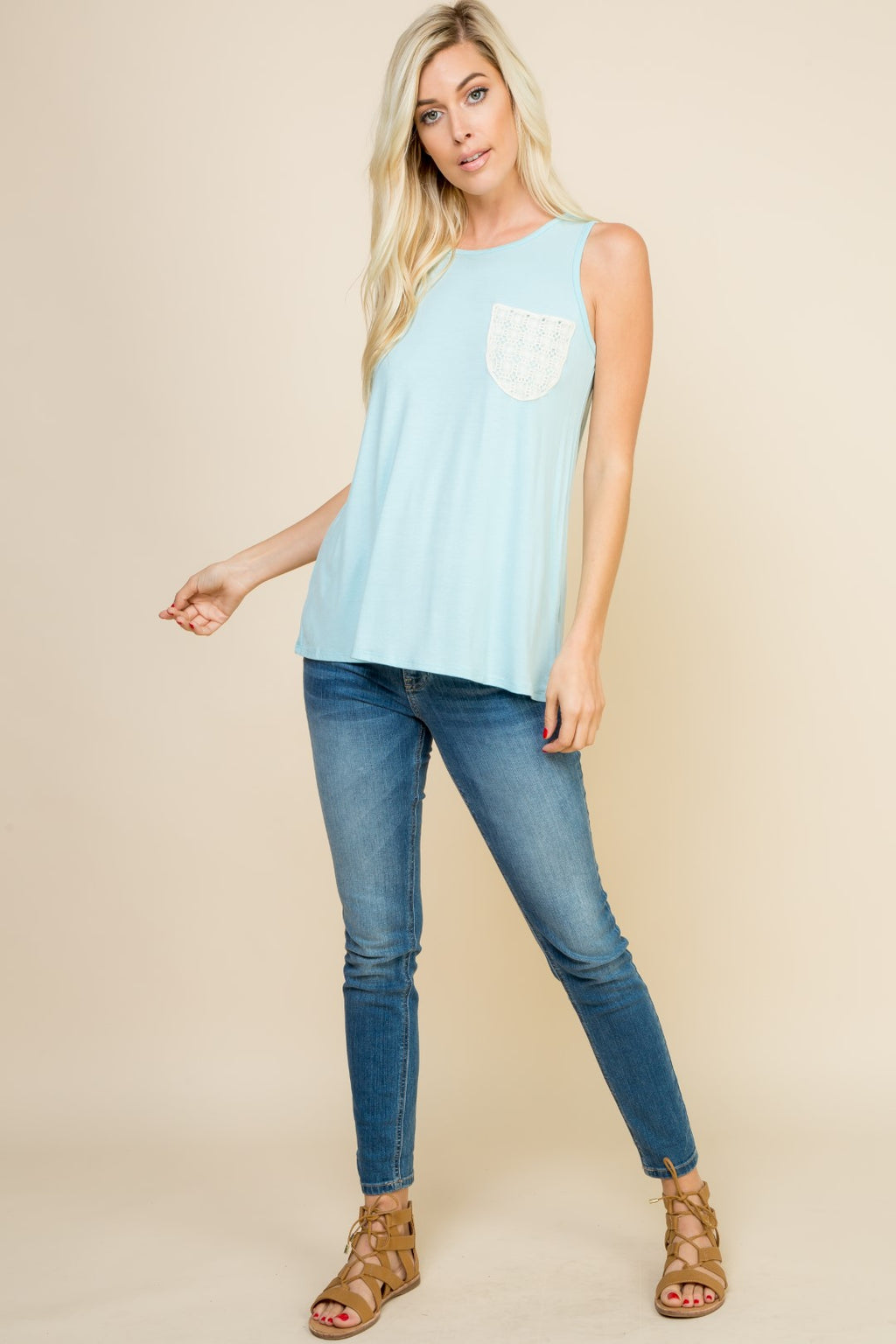 Blue Crochet Pocket Sleeveless Tank