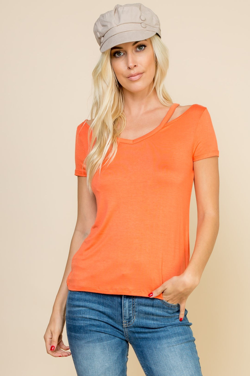 Orange Cut Out Tee