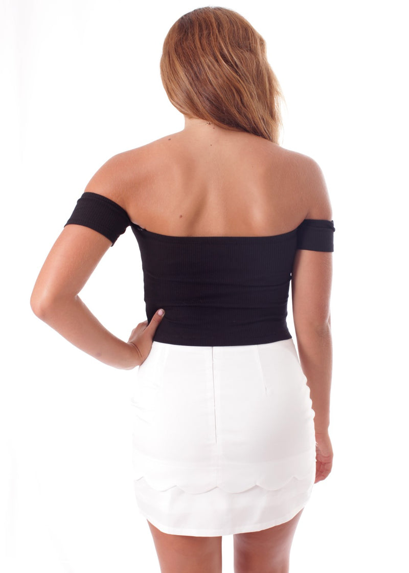 Black Fitted Off The Shoulder Crop Top