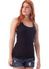 Racerback Scoop Neck Tank Top - Black