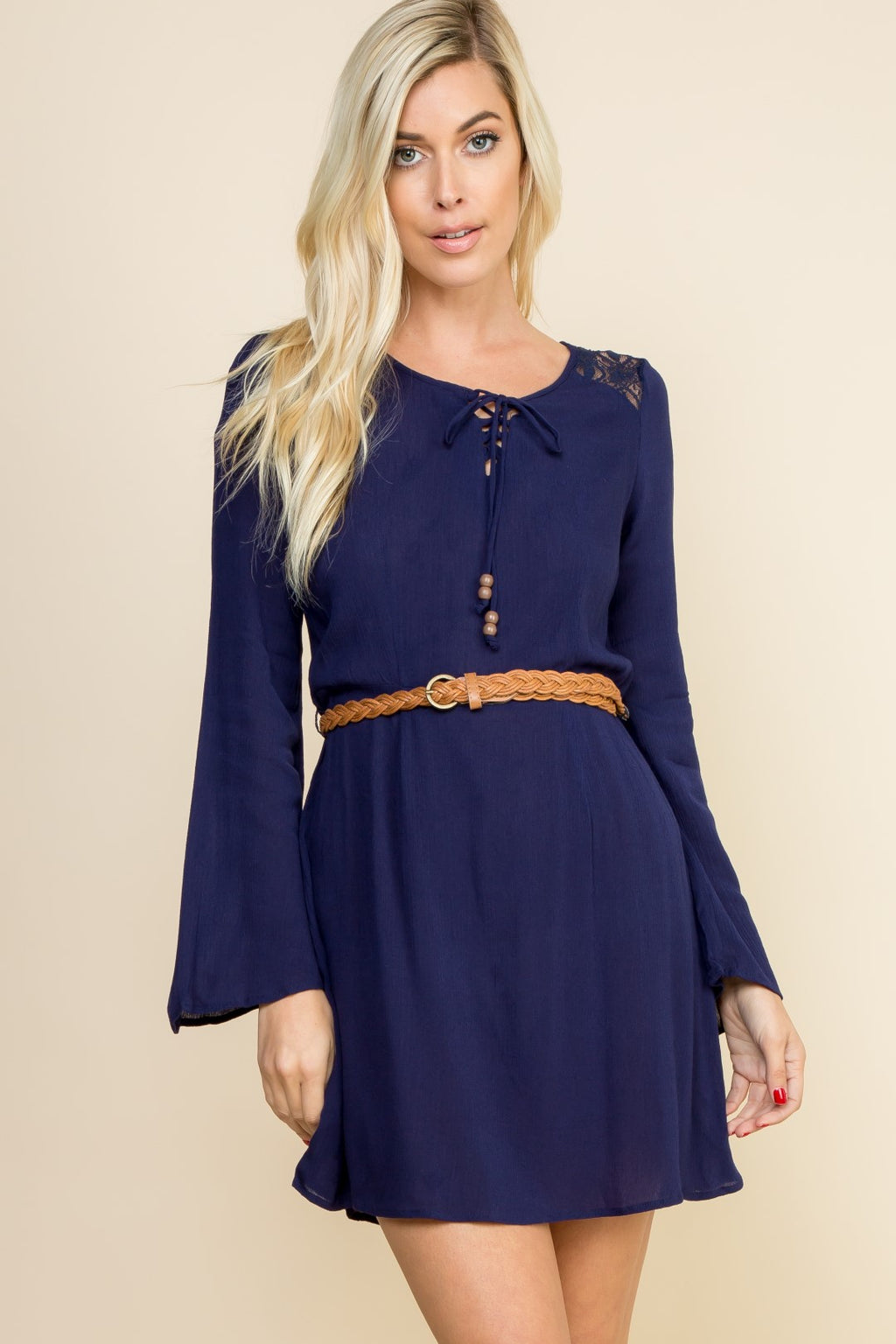 Navy Long Sleeve Belted Dress