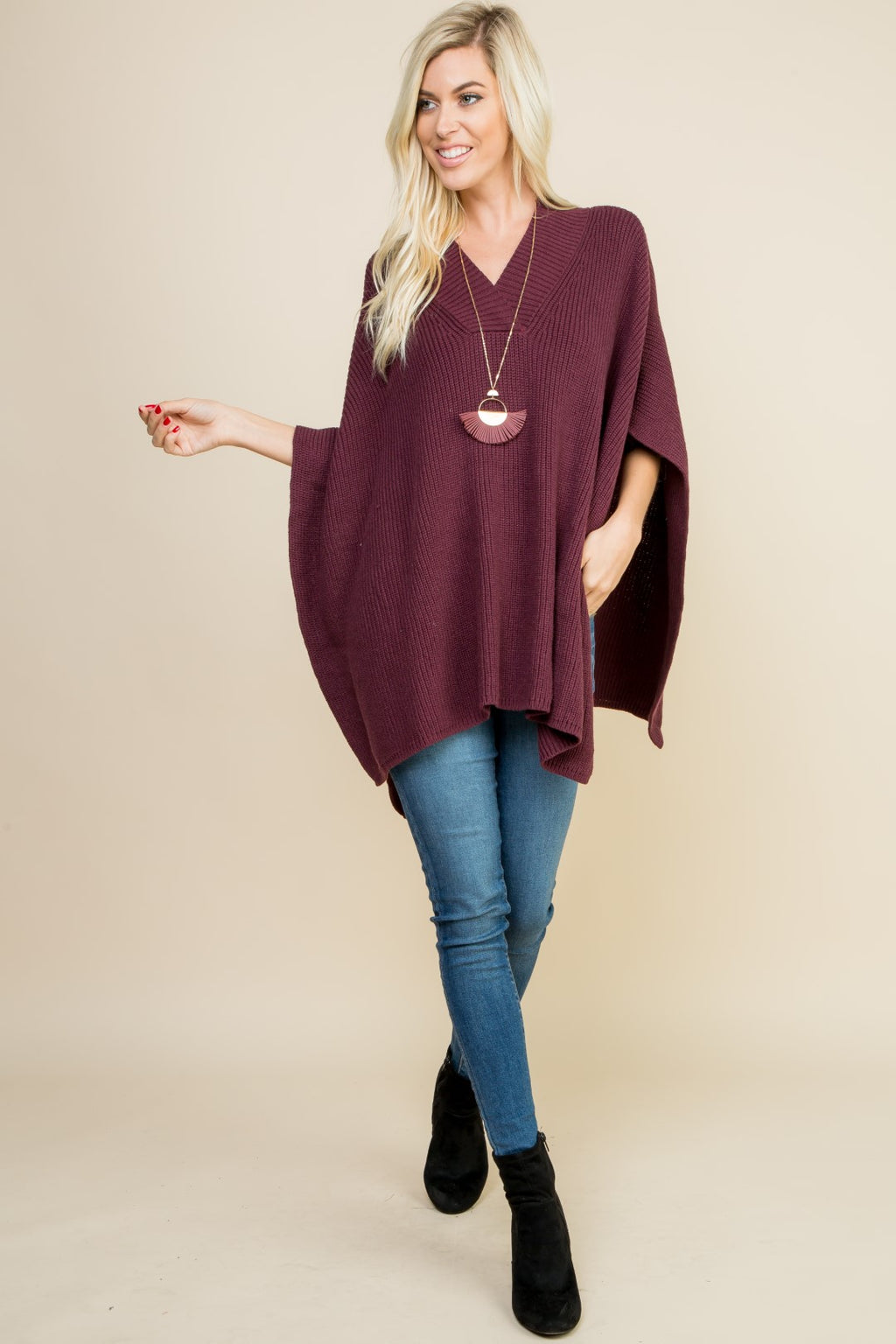 Burgundy Knit Poncho Top