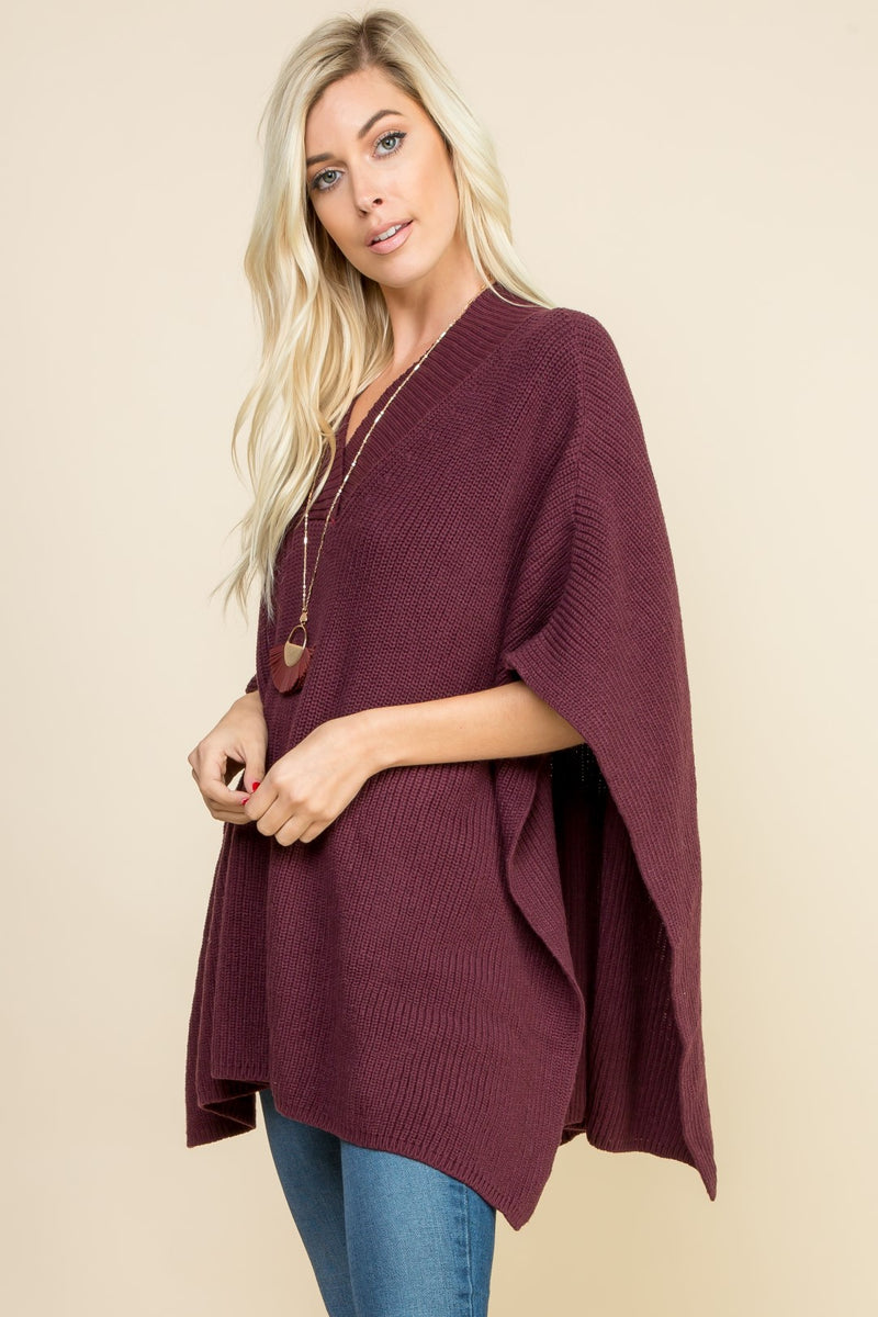 Burgundy Knit Poncho Top - 19 Dollars Or Less