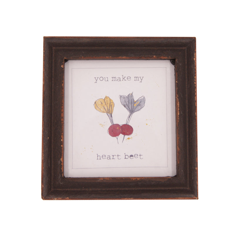 You Make My Heart Beet Wood Framed Decor