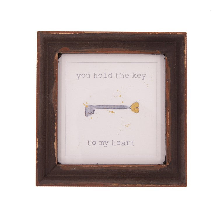 You Hold The Key To My Heart Wood Framed Decor
