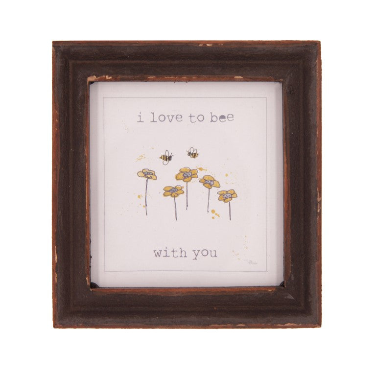 I Love To Bee With You Wood Framed Decor