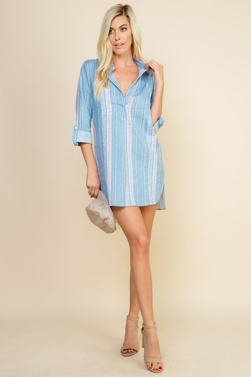 Denim Long Sleeve Button Up Tunic