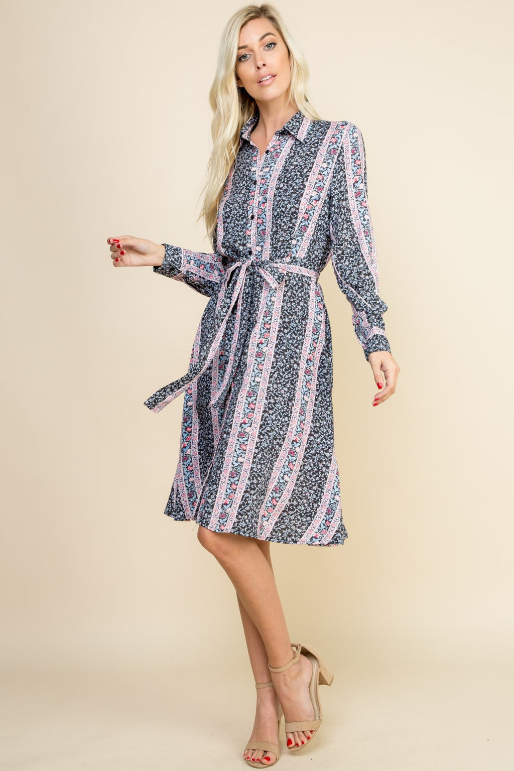 Navy Button Up Long Sleeve Dress