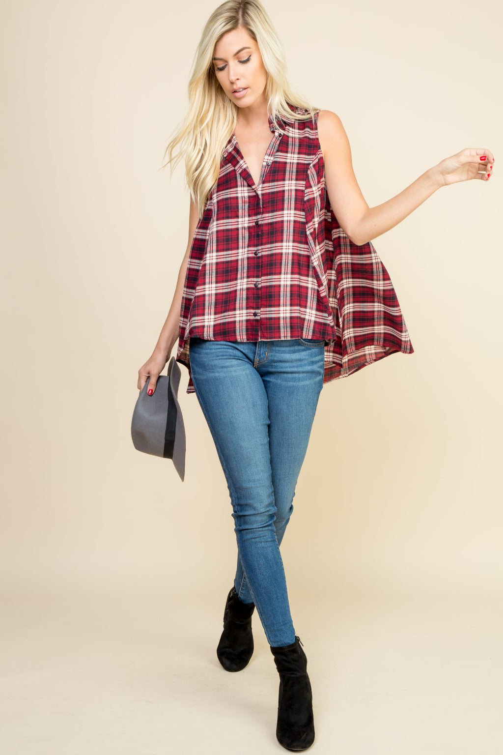 Plaid Sleeveless Button Down Top