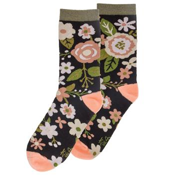 Charcoal Floral Print Socks - 19 Dollars Or Less