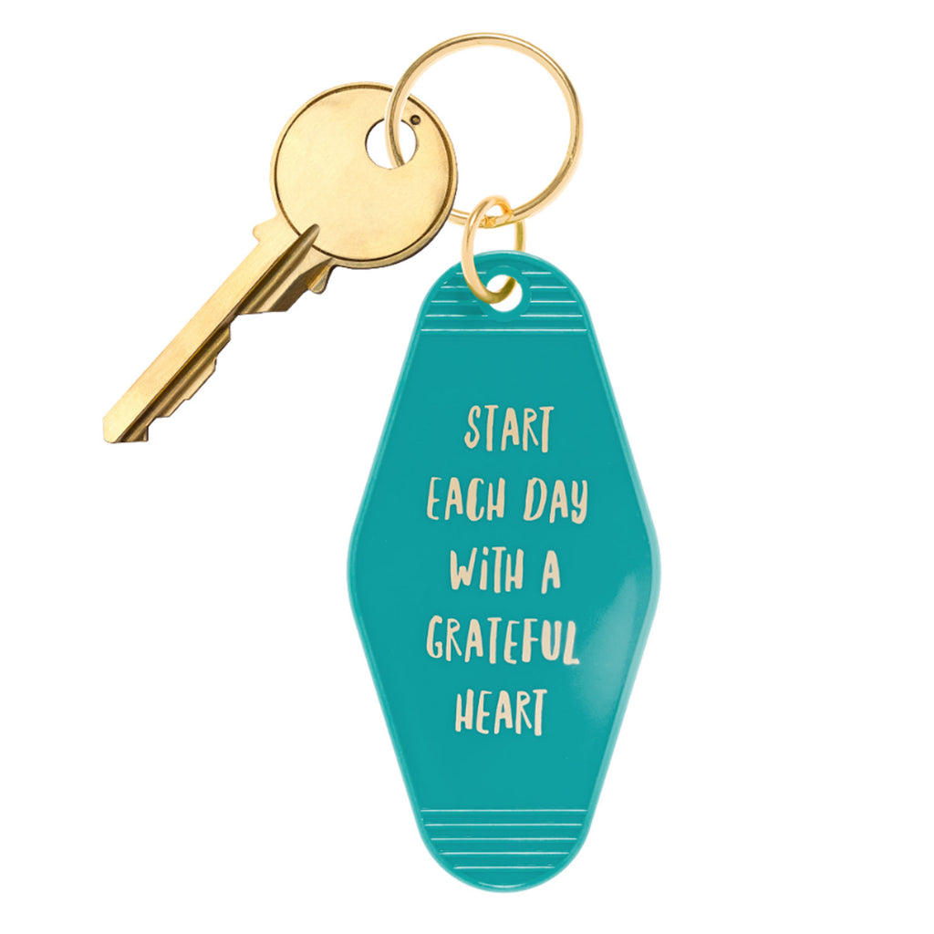 Start Each Day With A Grateful Heart Motel Style Key Chain