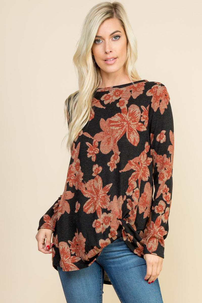 Knit Floral Twisted Hem Top
