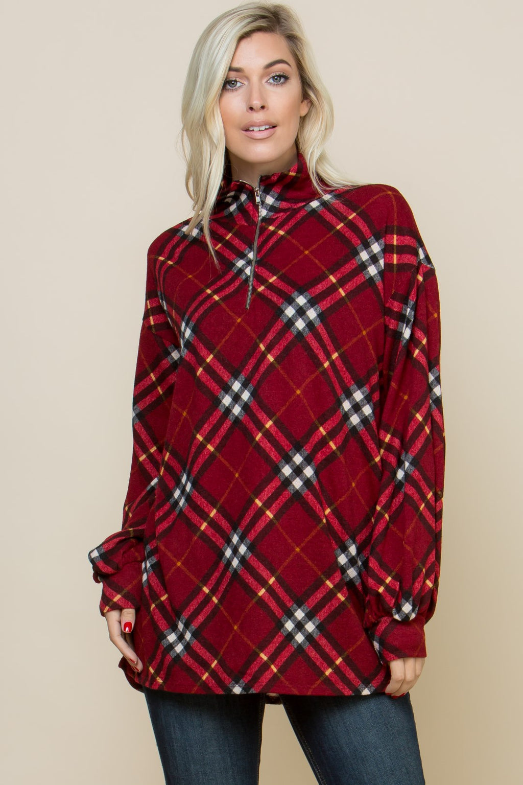 Wine Diagonal Plaid Zipper Front Knit Top
