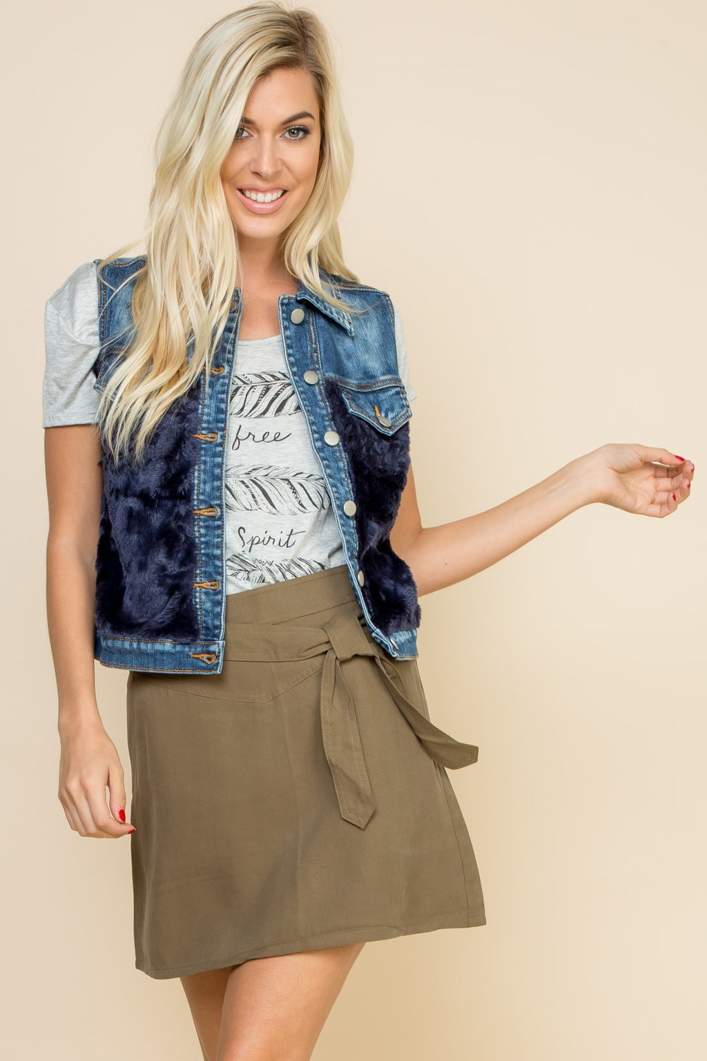 Faux Fur Denim Vest