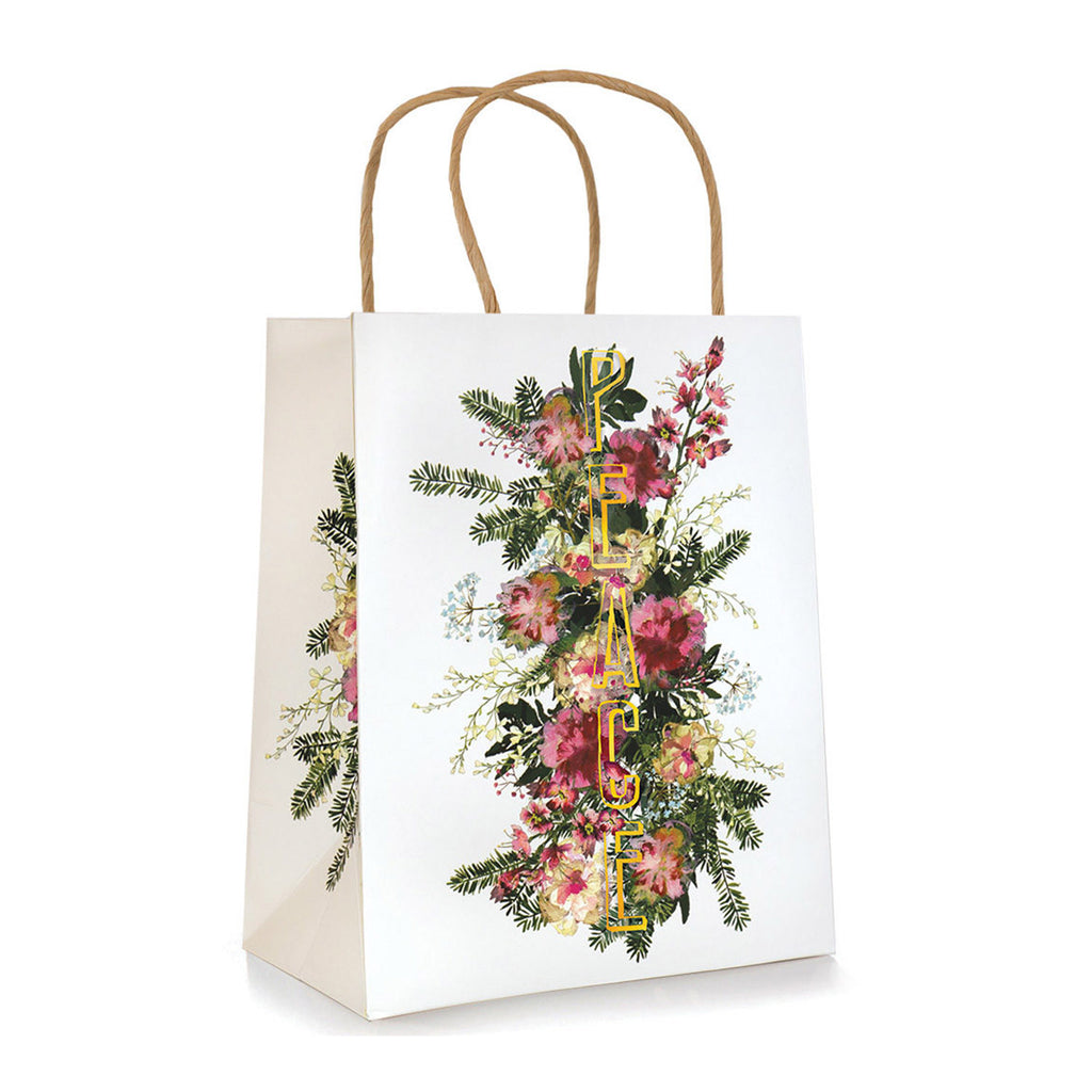 Floral Gold Peace Holiday Gift Bag - 19 Dollars Or Less
