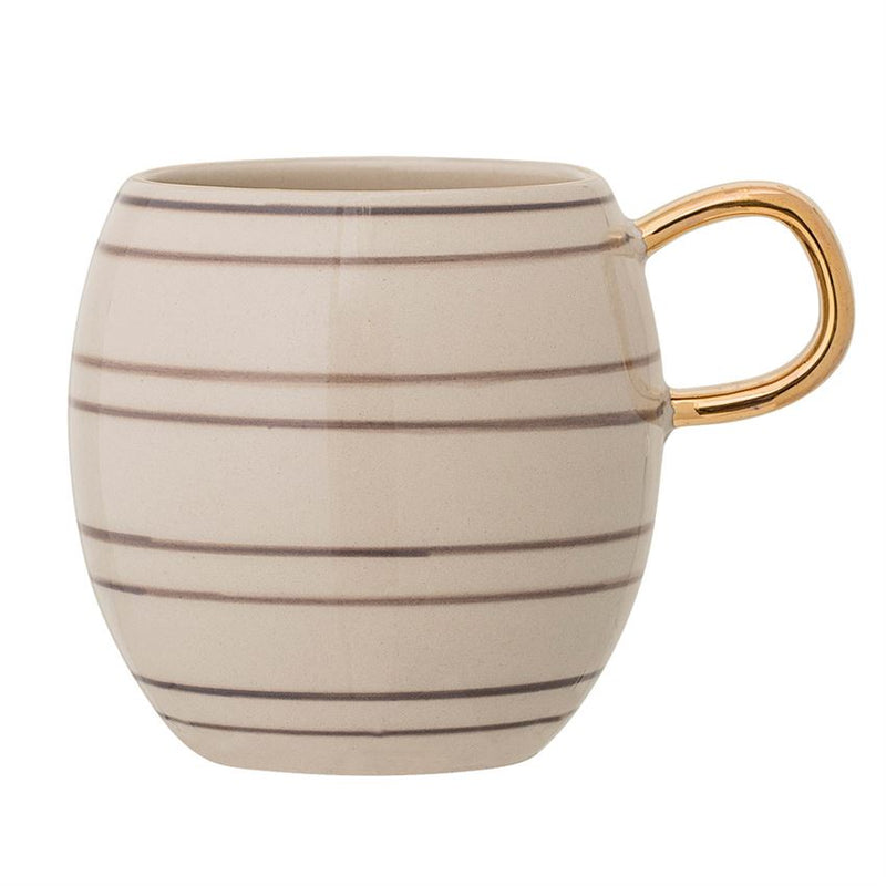Stoneware Striped Mug w/ Gold Rim & Electroplated Handle