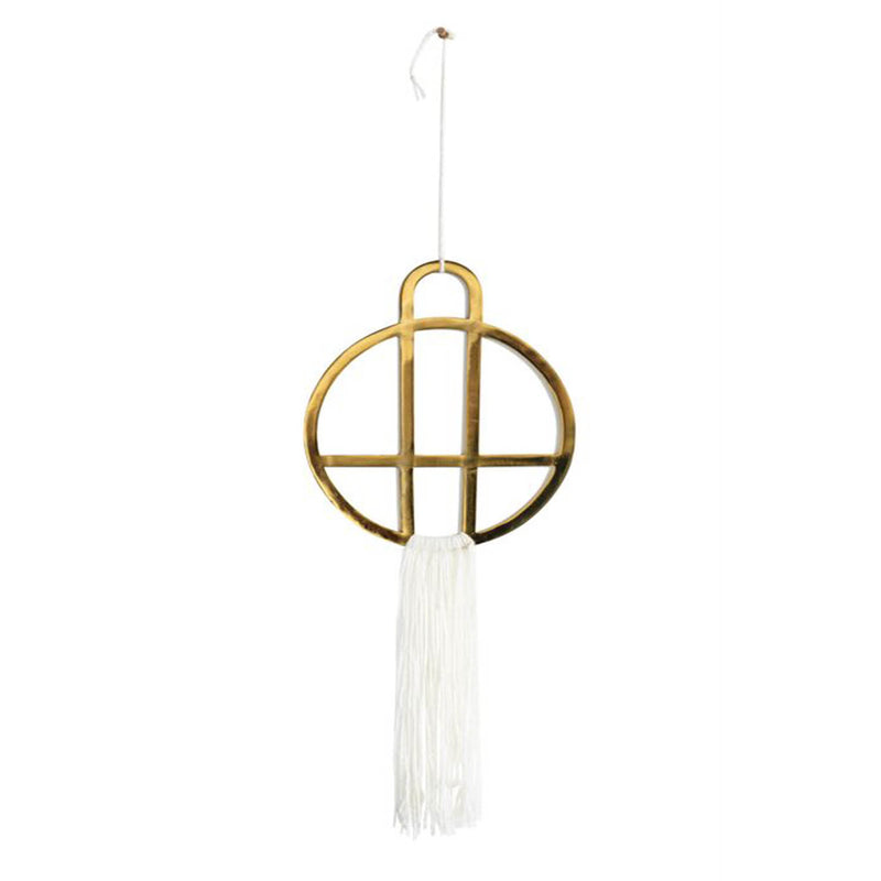 Brass Wall Decor With Cream Cotton Fringe - 19 Dollars Or Less