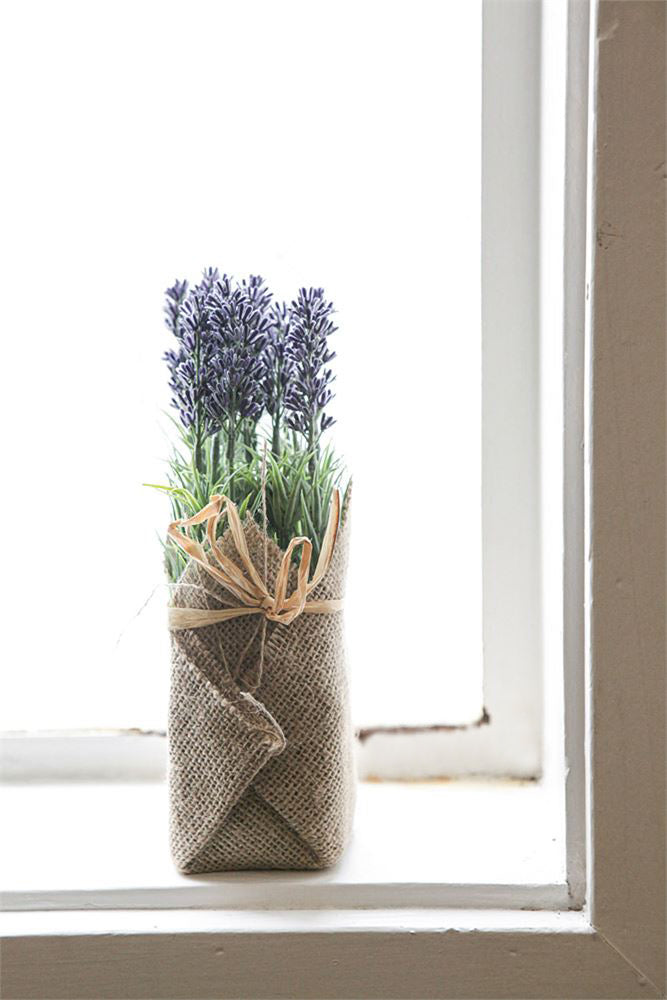 Burlap Wrapped Artificial Lavender Plant - 19 Dollars Or Less