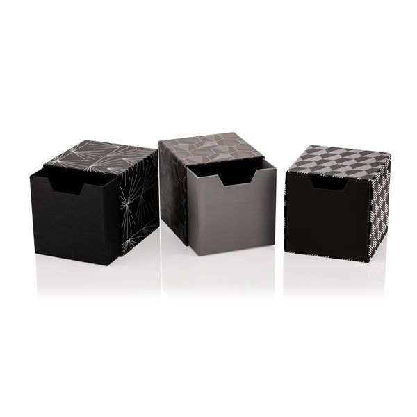 Tile Nero Set of 3 Cube Drawer Gift Boxes
