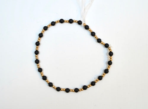 Black and Gold Bead Bracelet