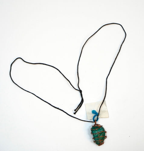 Wrapped Green Malachite Necklace
