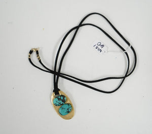Brass plated and turquoise dyed Bead Necklace