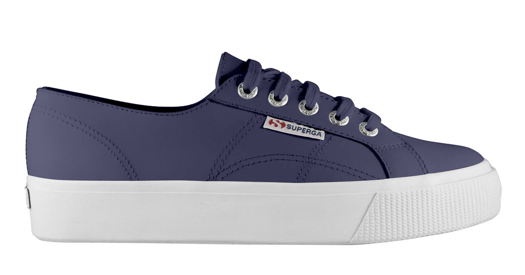Superga Leather Flatform Shoe - Navy